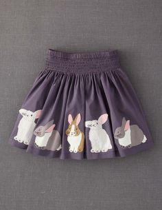 This Rabbit Appliqué Skirt will mean my bunny-loving daughter can take her rabbits with her wherever she goes. One happy bunny! #boden #magicalmenagerie
