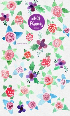 Wild Flowers. PS brushes by pippi-draws on @creativemarket