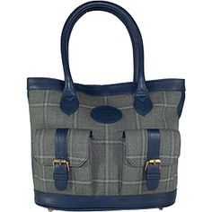 Dee Two Sage Tweed Shopper With Pockets Bag Country Cognac The Country Cognac range of handbags and accessories combines the luxury of leather with