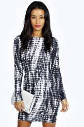 Kate Smudge Print Long Sleeve Bodycon Dress