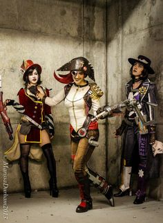 Borderlands: The Bad Ass Ladies. Mad Moxxi, Captain Scarlett, and the Sheriff of Lynchwood #cosplay #borderlands