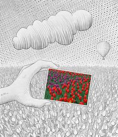 Ben Heine's Pencil vs Camera 26.  Love the pop of colour, the tulips are glorious and the artwork is fab! =)