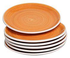 Set de 6 platos llanos en cerámica Pennellato, naranja - Ø24
