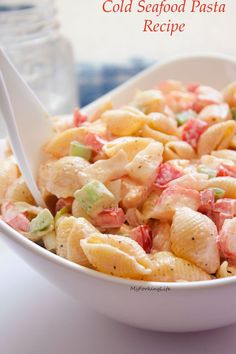 Seafood Salad Cold seafood pasta salad recipe is a great side dish for any barbeque this summer. The best bbq side dish for a crowd.Cold seafood pasta salad recipe is a great side dish for any barbeque this summer. The best bbq side dish for a crowd. Seafood Dishes, Pasta Dishes, Seafood Recipes, Cooking Recipes, Crab Pasta Recipes, Sea Food Salad Recipes, Healthy Recipes, Crab Pasta Salad, Seafood Pasta Salads