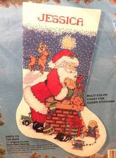 Bucilla SANTA ON THE ROOF Christmas Cross Stitch Stocking Kit Kooler Design,Vtg #Bucilla #Christmasstockingkit