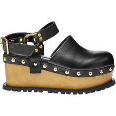 Sacai Platform Clog ($780) ❤ liked on Polyvore featuring shoes, clogs, black, black wedge clogs, wooden platform shoes, wooden wedges shoes, platform shoes and wood platform shoes #ClogsShoesPlatform