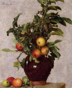 Vase with Apples and Foliage - Henri Fantin-Latour