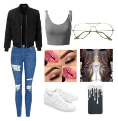 """""""Weekday vibes""""  on Polyvore featuring Topshop, LE3NO, adidas Originals and Doublju"""