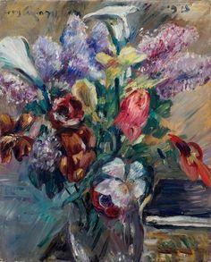LOVIS CORINTH(Tapiau 1858 - 1925 Zandvoort)Tulpen, Flieder und Kalla. 1915.Öl auf Leinwand.Oben lin