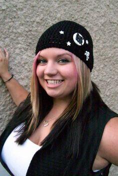 Crochet Hat Rock Star Black