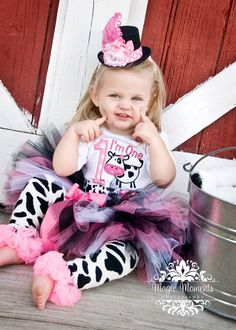 First Birthday Girl Bodysuit Cow Farm Pink and Black by whimsytots, $33.50