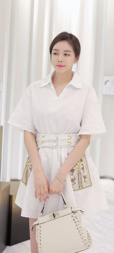 Korean Fashion Online Store 韓流 Trends Luxe Asian Women 韓国 Style Shop korean clothing Gold Belt Dress