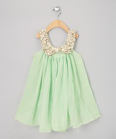 This would be the perfect dress for a birthday party or if a little girl had to go to a wedding. What about a flower girl dress? -  Mint Pleat Sequin Swing Dress - Infant, Toddler & Girls by Sweet Cheeks on #zulily today!