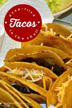 Deep-Fried Tacos have the meat fried right in the shell! Taco shells from a box will never taste quite as good as they once did after you try these crispy, crunchy Deep-Fried Tacos. Mexican Dishes, Mexican Food Recipes, Beef Recipes, Cooking Recipes, Mexican Easy, Turkey Recipes, Ethnic Recipes, Savoury Dishes, Food Dishes