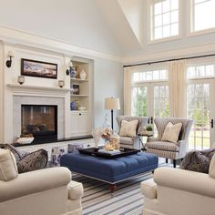 blue and white living room Camelia Court - traditional - living room - portland - Garrison Hullinger Interior Design Inc. & 155 Best New England INTERIORS images | Beach homes Coastal cottage ...