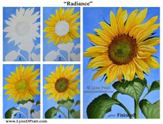 """Step by step, how to art, watercolor painting by Lynn D. Pratt """"Radiance"""". sunflower, summer, flower, prints available"""