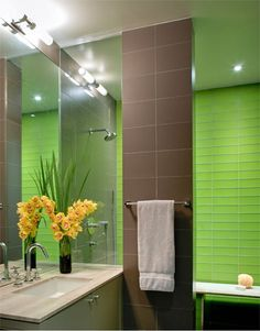 modern bathroom design with bright green tile accent wall, pantone green flash used in bathroom design, dark brown and bright green interior color scheme, lime green