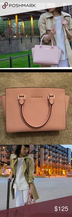 """""""Medium sized"""" Satchel / Shoulder Bag This is Authentic. The color is petal pink. It is a top handle satchel bag, with straps,  that can be used to make it a shoulder or even crossbody bag. There is a small """"glue-like"""" substance on the front of the bag (pictured in the LAST photo) which was there when I purchased it. And the FIRST and THIRD picture shows you the Actual color of the bag. Michael Kors Bags Satchels"""