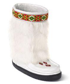 White Half Trim Suede & Fur Boot by Manitobah Mukluks #zulily #zulilyfinds