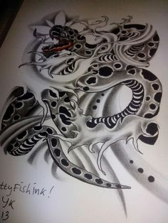 Done by me! New design for tattoo #snake