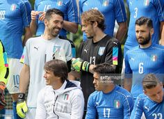 Gianluigi Buffon and Federico Marchetti of Italy pose for a team photo ahead of the UEFA Euro 2016 at Coverciano on June 1, 2016 in Florence, Italy.