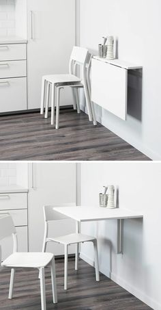 16 Wall Mounted Desk Ideas That Are Great For Small Spaces kitchen eating area idea. 16 Wall Desk Ideas That. Desks For Small Spaces, Table For Small Space, Small Space Kitchen, Furniture For Small Spaces, Table For Small Kitchen, Small Dining Rooms, Dining Table Small Space, Modern Spaces, Bjursta Table
