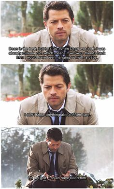 I love Castiel. He is just so sweet and caring. Though he doesn't know anything about how to take care of a child.