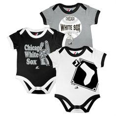 White Sox Bases Loaded Bodysuit Trio  #whitesox #Chicago #baby #infant #onesies #babyfans