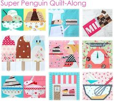 Shop   Category: Patchwork & Quilts   Product: Super Penguin Quilt-Along - October Block Print - Let's Bake!