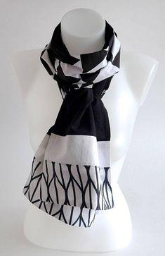 Etole, foulard, écharpe, réversible, patchwork motifs graphiques  géométriques noir et blanc   cadeau Noël mixte homme femme soirée fête    Une Embellie 894c4993673