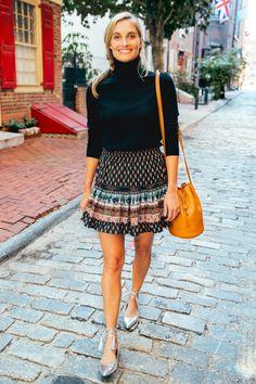 Flirty skirt. Classic turtleneck.