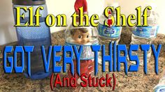 Our Elves on the Shelf got so thirsty he got stuck in a water bottle. ________________________________________ The Elf Tradition Have you ever wondered how S. The Elf, Elf On The Shelf, Shelf Ideas, Coffee Cans, Water Bottle, Shelves, Pure Products, Shelving, Shelving Ideas