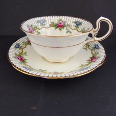 Vtg 1920 Art Deco Aynsley Tea Cup Saucer D Shape A4304 Black Floral Gold England #Aynsley