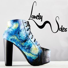 Hello to all our new followers! Wherever did you come from? check out our Starry Night Bootie available on our website! Let us know in the comments what design you'd like us to do next!  #lonelysoles #starrynight #vangogh #heel #art #fashion