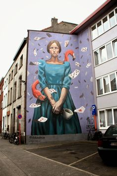 Wall paints, Muurschilderingen, Peintures Murales,Trompe-l'oeil, Graffiti, Murals, Street art.: Mechelen - Belgium Milu Correch