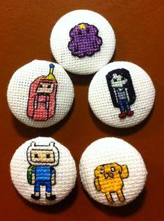 My new designs! Adventure Time Cross Stitch Buttons *HalfaStitch.wordpress.com*
