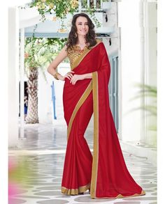 Red sari with embroidered blouse   1. Red satin chiffon embroidered sari2. Comes with matching unstitched blouse