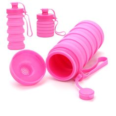 Promotional collapsible tower bottle in pink Fundraising, Gifts For Women, Charity, Promotion, Tower, Camping, Mugs, Drinks, Bottle