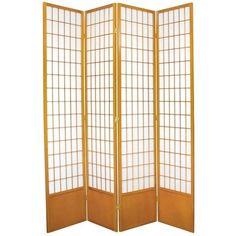 "83.5"" x 56"" Window Pane Shoji 4 Panel Room Divider"