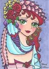 ACEO Original zentangle anime girl horoscope zodiac Scorpio by Jenny Luan