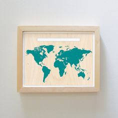 World Map & Pin Set  Teal Blue by Cabin on Etsy, $15.00