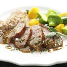 Maple-Mustard Pork Tenderloin.  I make this all the time, minus the sage since it's difficult to find here.  Delicious, healthy, quick, and easy.  What more could you ask for?