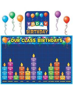 Teacher Created Resources 5335 Birthday Graph Bulletin Board: Celebrate birthdays and graph information about them. Find additional tips in the teacher's guide. Birthday Graph, Birthday Chart Classroom, 1st Birthday Signs, Birthday Bulletin Boards, Birthday Charts, Preschool Birthday Board, Birthday Display Board, Happy Birthday, Kindergarten Classroom Decor