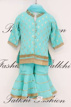 Outstanding personality of your little one in festive as well as social function with this splendid sky blue silk fabric punjabi palazzo suit Frocks For Girls, Dresses Kids Girl, Girl Outfits, Doll Dresses, Baby Girl Dress Design, Baby Suit Design, Kids Dressy Clothes, Kids Dress Wear, Kids Wear