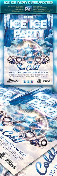 Ice Ice Party Flyer  #GraphicRiver         This flyer was designed to promote  TRANCE /  DANCE /  TECHNO  mu