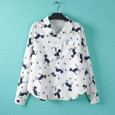 Cute Cat Print Shirts Women Plus Size 3XL Casual Long Sleeve Blouse Shirt White Loose Cotton Shirts KK121