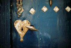 Blue Mykonos Gold heart french mysterious door by LumiereDuMatin