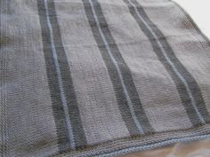 Knit baby blanket in Grey charcoral and sky blue by PinkyRoo, $49.00