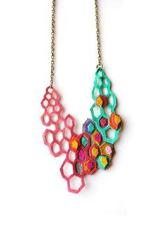 Geometric Necklace Modern Leather Molecules