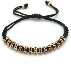 18K Gold Plated Diamond Stopper Macrame Bracelet [4 Variations]